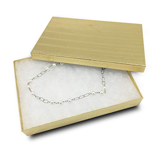 TheDisplayGuys 25-Pack #53 Gold Foil Cotton Filled Paper Jewelry Boxes (5 7/16 x 3 15/16 x 1) for Gift Display Shipping & Retail