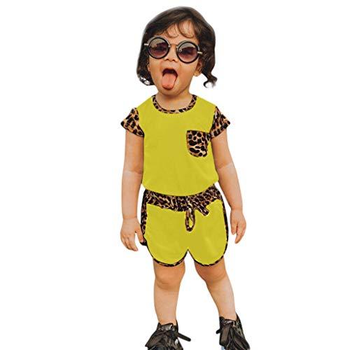 LEXUPE Kleinkind Kinder Baby Mädchen Leopardenmuster T-Shirt Shorts Outfits Set Sportkleidung(Gelb,100)