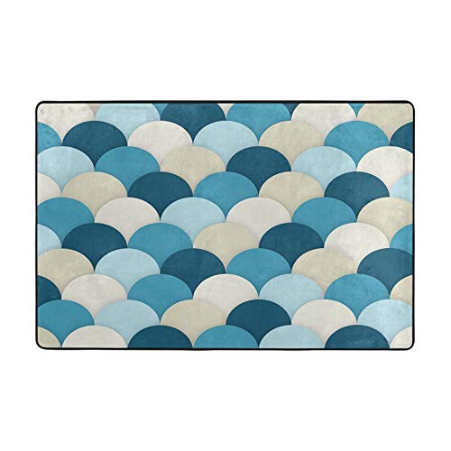 Unique-1 Blue Scallops Custom Floor Carpet Soft Area Rug,Personalized Throw Rugs Floor Pad Rugs Yoga Mat Home Decor for Kitchen/Living/Bedroom/Playing Room
