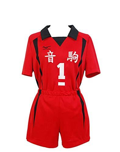 Nuocos Mens Womens Kuroo Tetsurou Costume Nekoma Uniform Anime Cosplay Outfits Red Valleyball Jersey,M