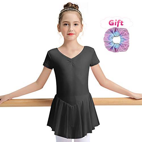 Sinoem - Maillot de Ballet para niña, de Manga Corta y Larga, de Manga Corta, con Vestido de Gasa, Color Sin Mangas, Color Negro, tamaño L (130,7-8Jahre