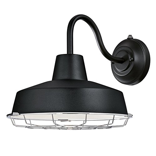 Westinghouse Lighting 6359600 Academy One-Light LED Dusk to Dawn Sensor, Textured Black Finish with Cage Shade Outdoor Wall Fixture
