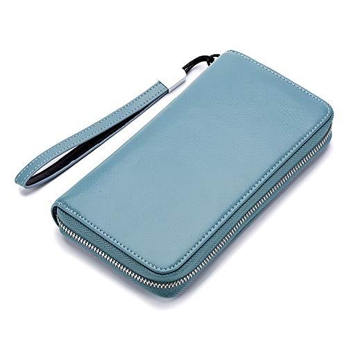 MIMIOOORE Carpeta Larga de Cuero del Bolso de Embrague de la Cremallera de Gran Capacidad Bolso del teléfono móvil for Wome (Color : Blue)