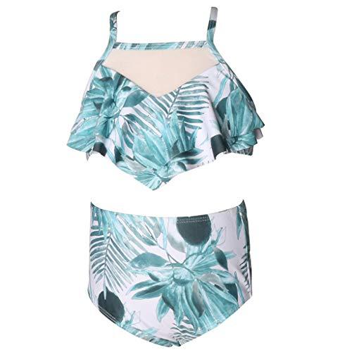 MIKI-Z Madre Hija Tropical Floral Traje De Baño Bikini Ruffle Mesh High Waist Swimwear