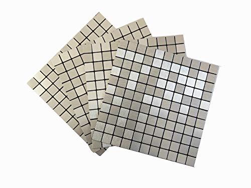 3D Fliesenaufkleber Mosaik, Selbstklebende Mosaik Fliesen Sticker, Wasserdicht Aluminium Metall Mosaik, Alte Mauer Erneuern Dekoration für Küche Badezimmer Schlafzimmer Wohnzimmer(4 Packs,Silber