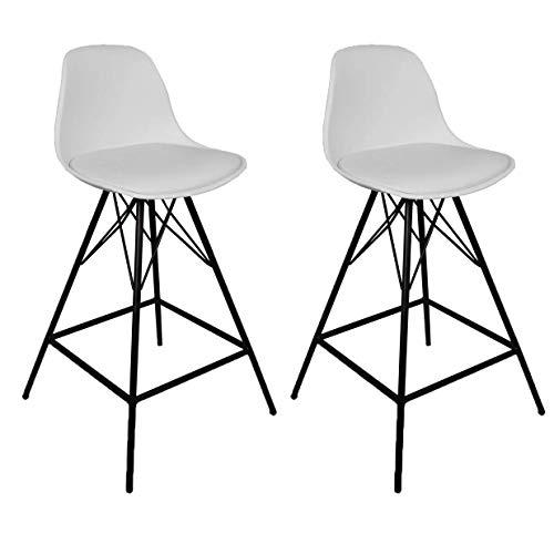 2er Set Comfort Barhocker mit lehne für der Bartisch | Tresen Hocker der zu Bar Set und Tresen passt | Bar Stuhl für die Küche in den Farben Weiß und Schwarz. Sitzhöhe 65 oder 75 cm. (Weiß, 75)