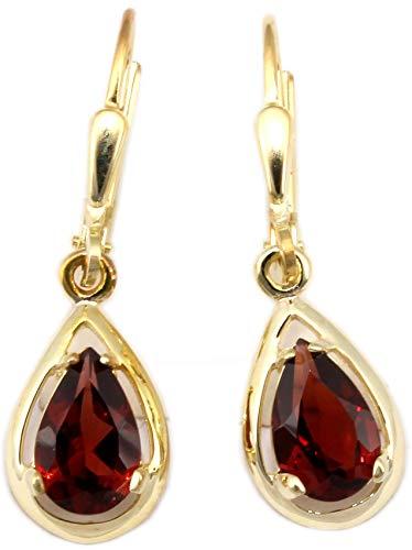 Ohrringe Gold 333 Granat Ohrhänger Hänger 8 Karat Gelbgold Granatohrringe