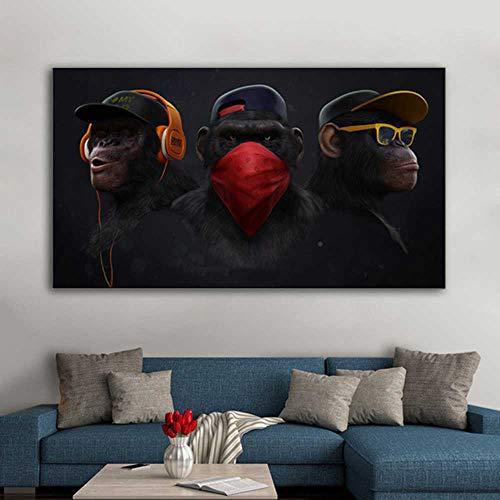 YSNMM Gorila Monkey Chimps Oortelefoon Dieren Foto's Canvas Schilderij Wall Art Living Room Modern Home Decor zonder lijst