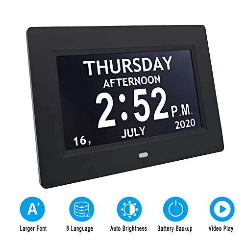 Digital Calendar Day Clock Photo Frame- Auto Dimmable Display 12 Alarm Options,Extra Large Impaired Vision Digital Clock with Non-Abbreviated Day & Month Alarm Clock (7 inch Black)