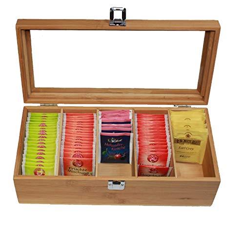Valuna Teebox aus Bambus H x B x T: ca. 11 x 36 x 16 cm, Teekiste aus Holz mit Acryl-Glasdeckel, Teebeutel Aufbewahrungsbox mit 5 Fächern, Teedose aus Holz zur Aufbewahrung von 100 Teebeutel
