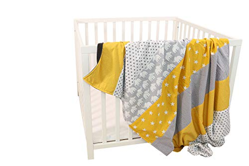 Colcha para bebé de ULLENBOOM ® con elefantes amarillo (manta de arrullo para bebé de 100 x 140 cm, ideal colcha para el cochecito; apta alfombra de juegos)
