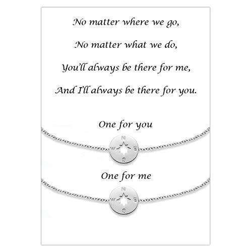 Cheerslife Paare passende Armbänder Beziehung Freundschaftsarmband Set Kompass Schmuck Geschenk für Sie und Ihn, Freund und Freundin