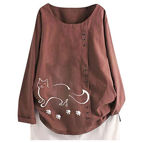 TUDUZ Blusas Mujer Manga Larga Camisas Botón Camisetas Impresión Tops Suelto Talla Extra M-5XL(B Vino,3XL)