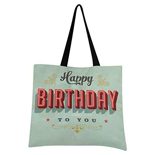 JinDoDo - Bolsa de lona reutilizable con diseño de letras de cumpleaños