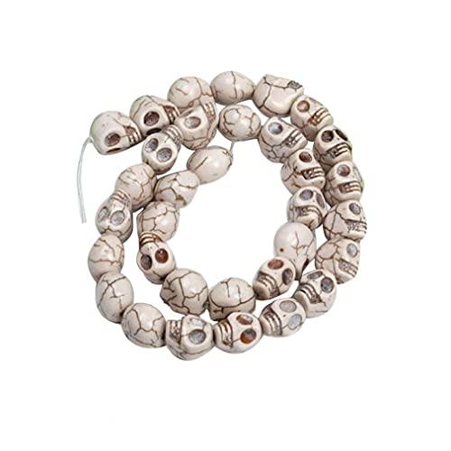 Mini Cuentas De Cráneo Tallado Skull Skelleon Spacer Bead for Craft Pulsera Collar Party Halloween 12mm Blanco 12 Unids Mini Cráneo Beads