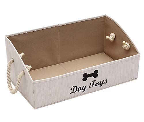 Morezi Canvas Pet Toy and Accessory Storage Bin, Basket Chest Organizer - Perfect for Organizing Pet Toys, Blankets, Leashes and Food - White - Rectangle - Dog