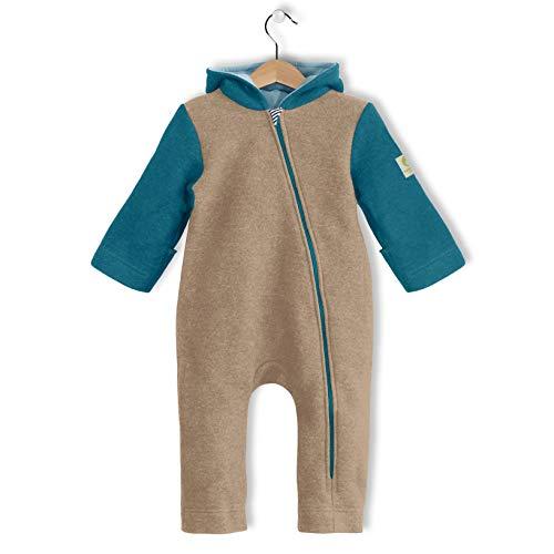 bubble.kid berlin Made in Germany - Unisex Baby Mädchen Jungen Herbst Winter Anzug Walkwolle Wolle Overall Einteiler Jumpsuit Onesie, gefütterte Kapuze, Reisser-Schutz (86-92, kiesel-aqua)