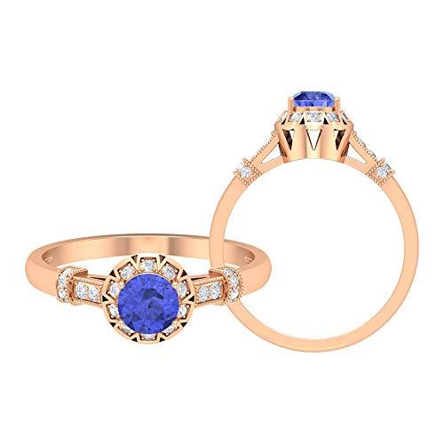 Vintage Solitärring, 0.64 ct, runde Edelsteine, HI-SI Diamant 5 mm Tansanit, Art Deco Ring, Kronenfassung Ring, Halo-Ring mit Seitensteinen, 18K Roségold, Size:EU 61
