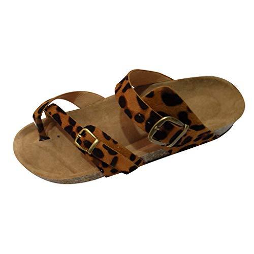 Yvelands Retro Mujeres Liquidación Leopardo Pisos Sandalias Zapatos de Playa Zapatillas de Corcho de Suela Gruesa (Caqui,40)