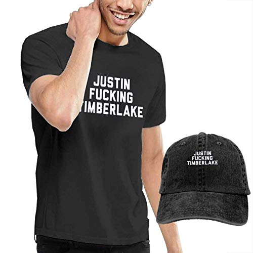 Thimd Justin Fucking Timberlake Camiseta de Manga Corta para Hombre,Gorra de béisbol Combinación Negro