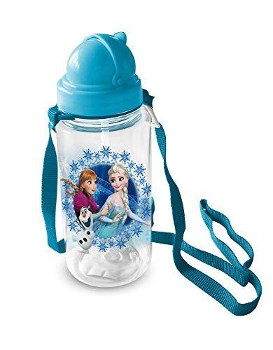 Star Botella Frozen Elsa Anna Olaf Disney con Paja Tapa y Correa ML. 450 - 59713