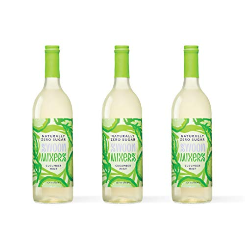 Zero Calorie Cucumber Mint Cocktail Mixer by Swoon - Low Carb, Keto Friendly, Sugar Free and Gluten Free Drink Mix - 25 Oz Bottles, Pack of 3