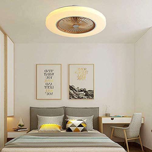 Ventilador de techo LED con iluminación, 3 colores, lámpara de techo regulable, silencioso, 3 velocidades de viento ajustables, ventilador con mando a distancia para dormitorio, habitación infantil