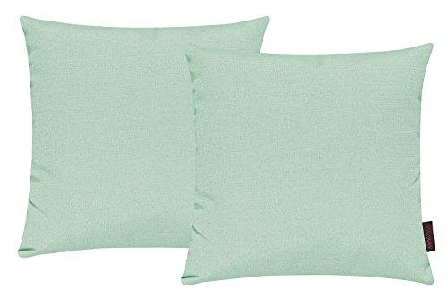 Fino Kissenhülle ca. 40 x 40 cm hochwertig & knitterarm in vielen bunten Farben 2er Set (028 Pastellgrün)