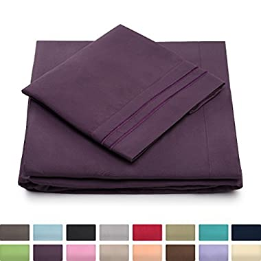 California King Bed Sheets - Purple Luxury Sheet Set - Deep Pocket - Super Soft Hotel Bedding - Cool & Wrinkle Free - 1 Fitted, 1 Flat, 2 Pillow Cases - Plum Cal King Sheets - 4 Piece
