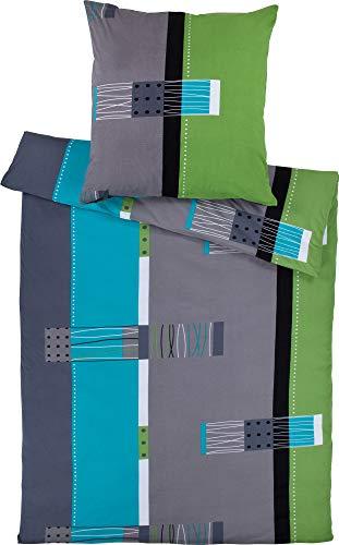Erwin Müller Bettwäsche, Bettgarnitur, Kissenbezug Mako-Jersey grün-blau-grau Größe 135x200 cm (40x80 cm) - bügelfrei, einlaufsicher, mit praktischem Reißverschluss (weitere Größen)