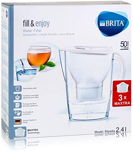 BRITA Marella Cool Water Filter Jug and Cartridges Starter Pack, White
