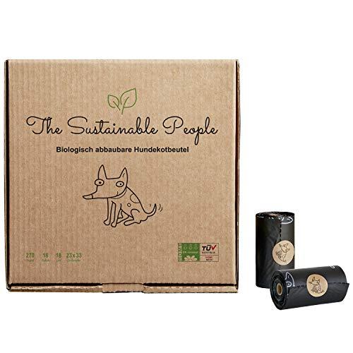 TSP biologisch abbaubare Premium Hundekotbeutel - OK compost HOME zertifiziert - 100% heim-kompostierbar und biologisch abbaubar (kein OXO!) - Gross, Extra Dick (18µm) (18 Rollen (270 Beutel))