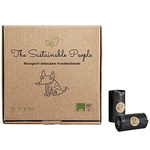The Sustainable People TSP Bio-abbaubare Hundekotbeutel - OK Compost Home Zertifiziert - 100% heim-kompostierbar und biologisch abbaubar - Gross, Extra Dick (18µm), (18 Rollen (270 Beutel))