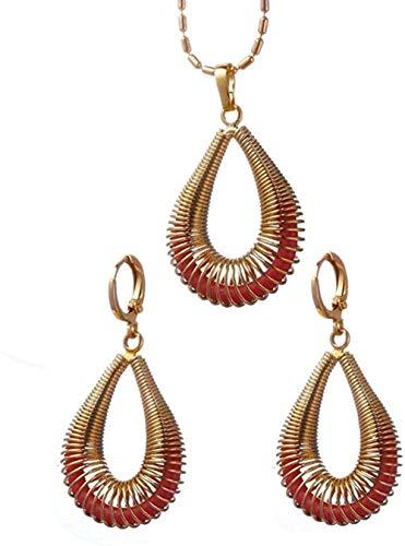 Yaoliangliang Elegante geométrico Hueco Gota de Agua Multicolor Espiral Collar de Metal para Mujer Boda Pendientes llamativos Longitud 45 cm Cadena