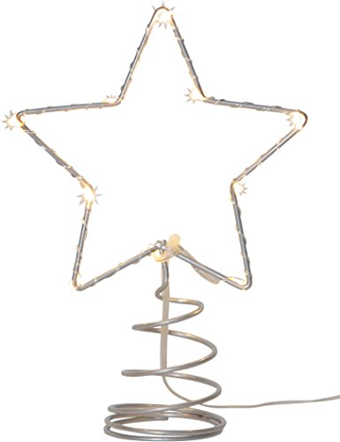 "'Star 089–94LED, punta per albero di Natale""Topsy, 10LED, luce bianca calda, Metallo, Argento, 1.4x 2.0x 0.55cm"