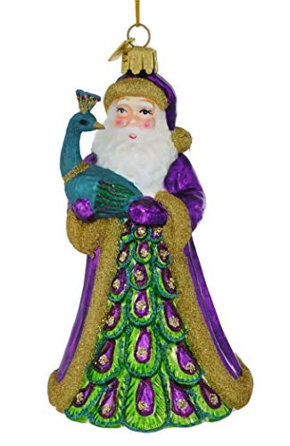 Kurt Adler Noble Gems Peacock Santa Hanging Ornament, 5.5 inches Tall