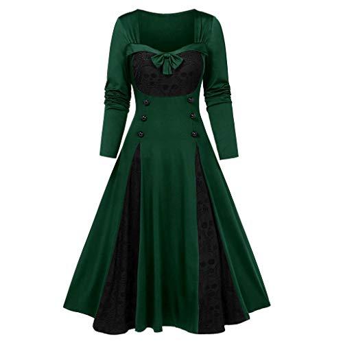 showsing-vrouwen kleding Womens Halloween Vintage Fancy Dress Dames Vierkante hals Schedel Gotische Hof Jurk Kant Cosplay Jurk Lange Mouw Knop Strik Jurk