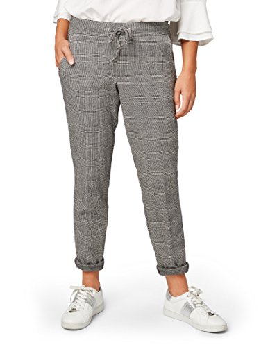 TOM TAILOR für Frauen Hosen & Chino Hose mit Glencheck-Muster Coal Grey, 38/32