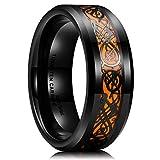 King Will Dragon 8mm Mens Celtic Dragon Tungsten Carbide Wedding Band Ring Black/Gold/Rose Gold/Blue/Inlay/Green (Orange, 11)