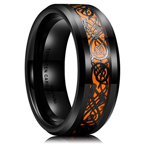 King Will Dragon 8mm Mens Celtic Dragon Tungsten Carbide Wedding Band Ring Black/Gold/Rose Gold/Blue/Opal /Green (Orange, 15)