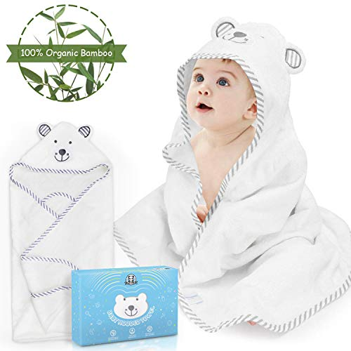 Loori Baby Kapuzenbadetuch 90 x 90 CM 100% Bambusfaser Ultra-Weiches und Dick Hypoallergenes Babyhandtuch mit Kapuzen, Geschenk für Neugeborene, Baby, Kleinkinder, Mädchen & Jungen, 480 G