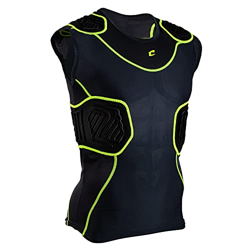 CHAMPRO Bull Rush Football Compression Shirt w Cushion System, Charcoal, Black Inset, Adult Large