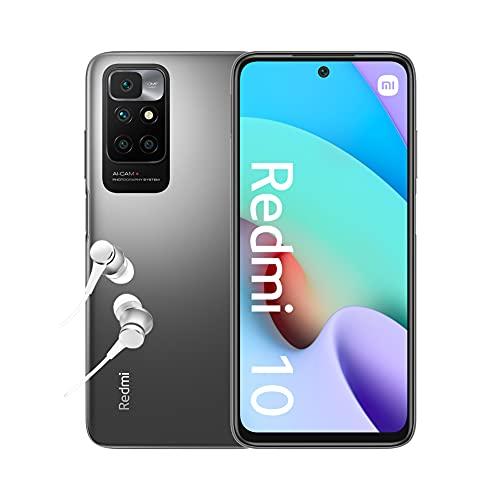 Xiaomi Redmi 10 - Smartphone 4+64 GB, 6,5' FHD+ 90 Hz DotDisplay, MediaTek Helio G88, 50MP cámara cuádruple con IA, 5000 mAh, Gris Carbón (Versión ES+ 2 años de garantía)