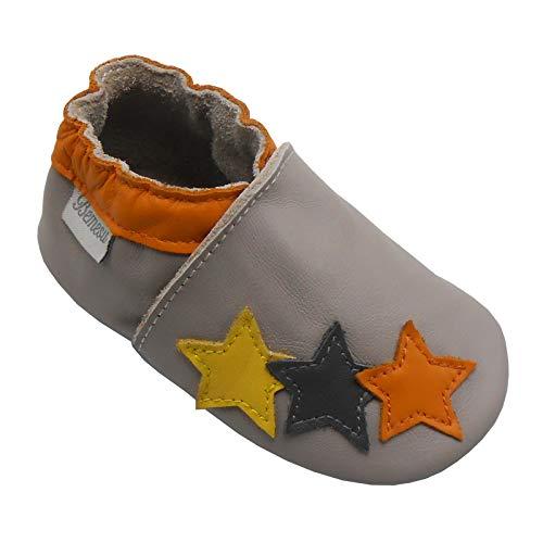 Bemesu Baby Krabbelschuhe Lauflernschuhe Lederpuschen Kinder Hausschuhe aus weichem Leder für Mädchen und Jungen 3 Sterne (L, 12-18 M, EU 21-22)