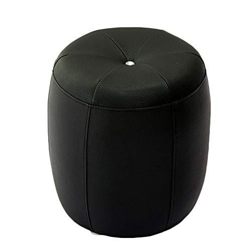 JIANFEI Taburete Puff Asiento De Reposapiés Sofá Taburete Puff Bajo Impermeable Cojín De PU Decoración Hogareña , 10 Colores (Color : Black, Size : 35X35X40cm)