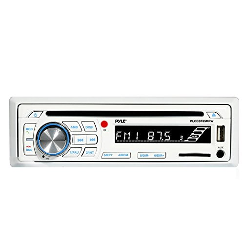Pyle Single DIN Bluetooth Marine Boat Yacht Stereo AM FM Radio CD Player Receiver - White