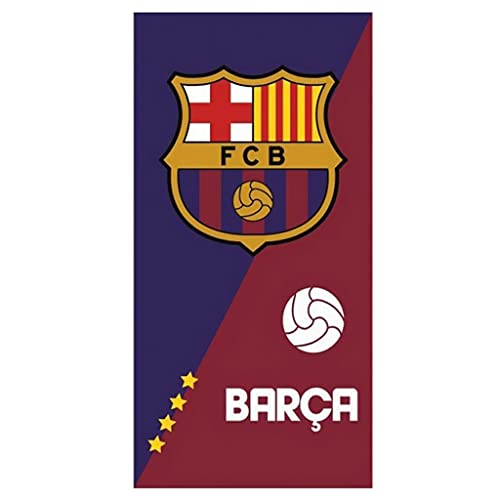 FC Barcelona - Toalla de playa (70 x 140 cm, 100% algodón, 350 g), color rojo y azul