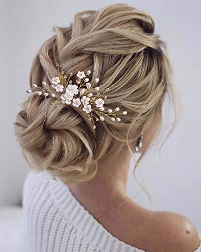 Edary Brautschmuck Hochzeit Blumen Haarkämme Gold Kristall Braut Kopfschmuck Perle Haarspangen Rosa Perlen Haarschmuck für Frauen und Mädchen