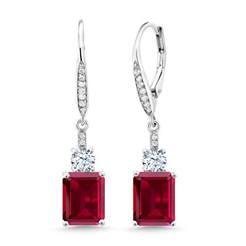 Gem Stone King 925 Sterling Silver Red Created Ruby Dangle Earrings For Women (5.60 Ct Emerald Cut 9X7MM)