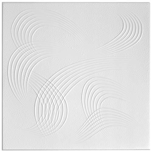 Dalle de plafond - En stuc et polystyrène - 50 x 50 cm - Numéro: 84 - Idéale pour la décoration